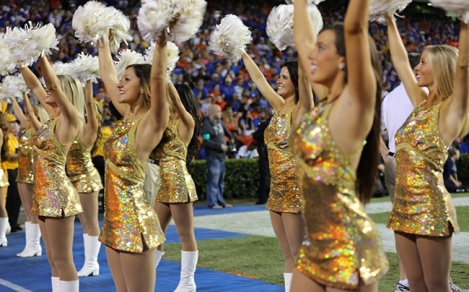 The Mizzou Golden Girls cheer on the Tigers as they face the Florida Gators at The Swamp on Saturday, October 18, 2014 in Gainesville, Fla.
