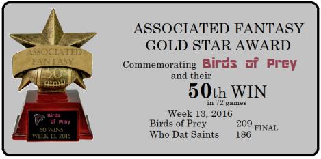 Gold Star Award - Birds of Prey