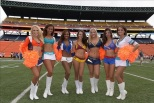 Cheerleaders from the WFL Cheer All Stars, Scandinavian Stars, Buenos Aires Blue Dogs, Dacusville Devils, London Falling, Old England Patriots, and Mexico Aztecs gather in this photo op at the 2015 opening ceremonies.