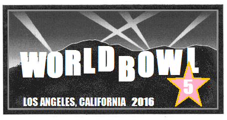 Newly released logo for 2016's World Bowl 5 to be hosted by the defending WFL Champions Los Angeles Dragons
